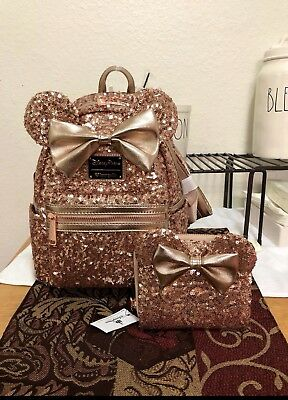 Disney Parks Minnie Mouse Rose Gold Loungefly Backpack AND Wallet - New! SOLDOUT