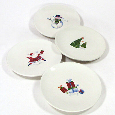 pier 1 imports christmas icons 6 appetizer plate set 4pc santa gifts snowman