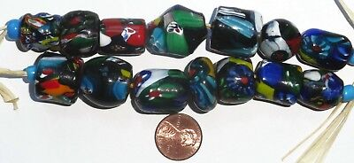 14 Vintage West African Mosaic Glass Mixed Shapes & Sizes Trade Beads