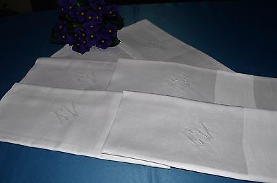 Serie Of 6 Large Towels Thread Linen Embroidered (C).v / Washing Antique