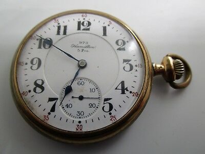 Vintage Hamilton Pocket Watch.  973 5 Positions on Dial. Non Running.