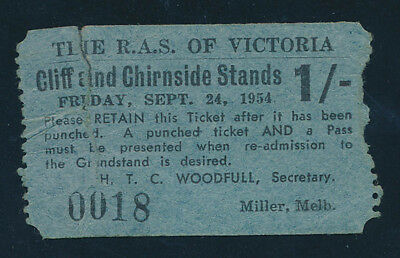 """AUSTRALIA: Royal Agricultural Society Victoria """"RARE 1954 1/- ADMISSION TICKET"""""""
