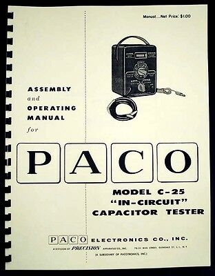 Paco C-25 C25 In-Circuit Capacitor Tester Construction and Operating Manual