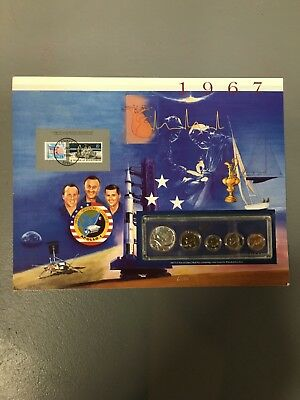 1967 uncirculated mint set Postal commemorative society coin and stamp Apollo 1