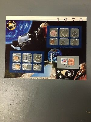 1970 uncirculated mint set Postal commemorative society coin stamp Apollo XIII