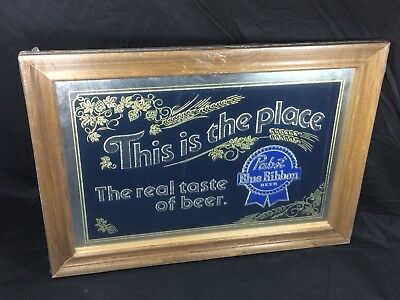 Pabst Blue Ribbon Beer Mirror Sign New Old Stock Mint 1980's PBR Wood Glass