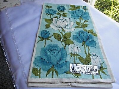 "New Vintage Pure Linen Towel 28 1/2 X 16"" Blue Rose Design USA made"