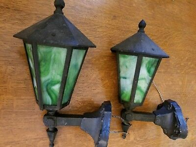 Antique 1920's Cast Iron Porch Arts & Crafts Mission Sconce Lights Bungalow Era