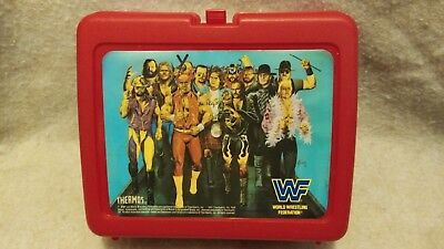 Vintage Lunch Box WWF Wrestling Group Picture  By Thermos 1990's Plastic Red