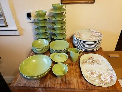 Vintage Texas Ware Floral Melanine Plates, Cups and Saucers, Cream and Sugar