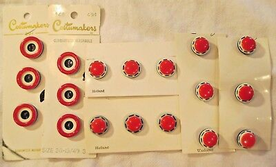 18 VINTAGE 1960-70's RED WHITE & BLUE PLASTIC BUTTONS NOS ~ 2 Different Styles