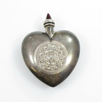 Puffy Heart Etched Perfume Bottle Vintage Sterling Silver 15.1 Grams