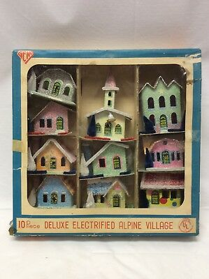 Vintage 1950's Deluxe Electrified Alpine Village By Gem 10 Putz Houses Org Box