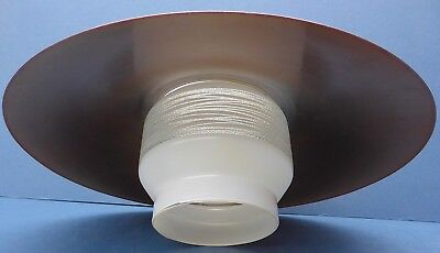 Stylish Vintage Modernist Ceiling Light Shade 1960s/70s Frosted Glass & Metal