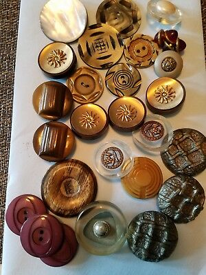 Antique lucite, celluloid, and metal coat buttons lot