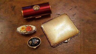 Collectable vintage LOT 4 items, Stratton case, Kigu lipstick case, pill pots.
