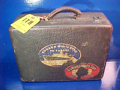 1930s CUNARD WHITE STAR LINE Little LEATHER TRAVEL CASE w Decals