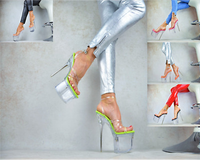 TRANSPARENT Damenschuhe Club-Party Pumps Plateau XXXL GOGO High Heels