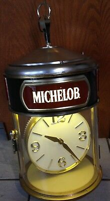 Vintage Anheuser Busch Michelob Beer Hanging Rotating Lighted Clock w/ Eagle