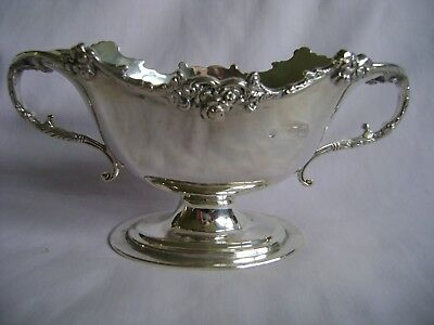 Antique Hallmarked Solid Silver Two Handled Double Lipped Sauce Boat London 1909