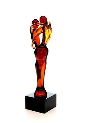 Large 18.5cm Murano Art Glass Sculpture Pair Of Embracing Lovers Figure Amber