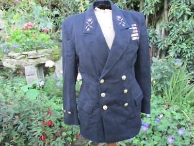 Cold War or Korea Period Royal Navy Uniform Tunic with badges and medal ribbons