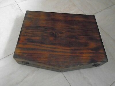 Vintage  Stained Pine  Canteen Of Cutlery Box Desk Top Storage Box  Like Oak