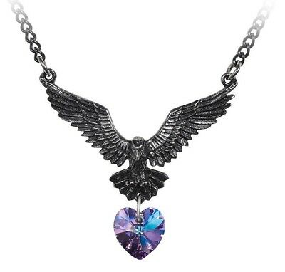 Hamingja Norse Guardian Angel Purple Heart Bird Necklace Alchemy Gothic P857