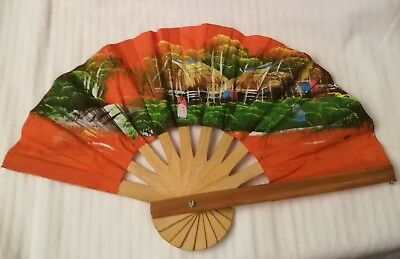 Alter, kleiner Fächer, orange bunt, stabil, Fernost China Vietnam Korea Thailand