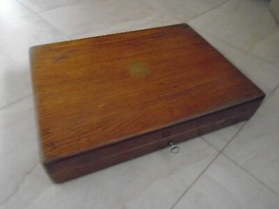 Vintage   Wooden Canteen Of Cutlery Box Desk Top Storage Box  With Lock & Key