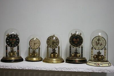 Job lot of 5. med size, 400day anniversary torsion clocks  F.S.O.R.with p/domes