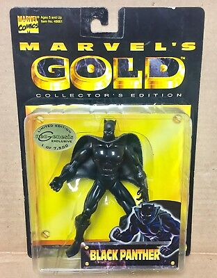 Marvel Gold Black Panther Collectors Edition New Sealed Toy Biz 1998