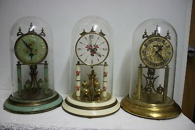 Job lot of 3.large Haller 400day anniversary torsion clocks with p/domes f.s.o.r