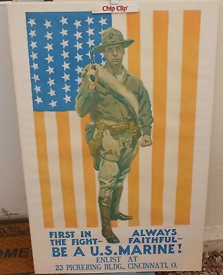 "Original Marine Recruiting Poster By James Montgomery Flagg ""First In The Fight"""