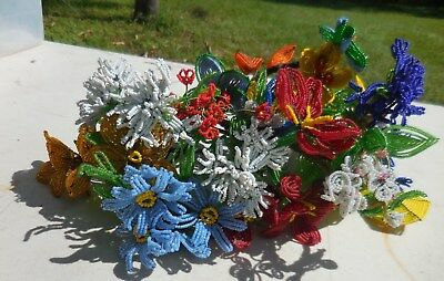 10pc Vintage French Beaded Flowers Handmade Blue Yellow Red White
