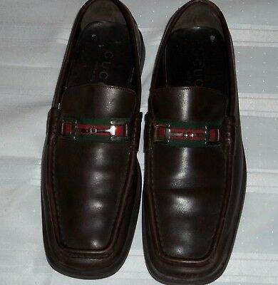147532e0fda Mens Gucci Horsebit Brown Leather With Red Green Stripe Loafers Size 9.5 D  Nice