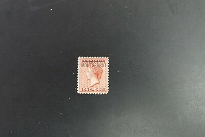 Montserrat #1 1876 1p queen victoria VF mint hinged with small thin (v403)