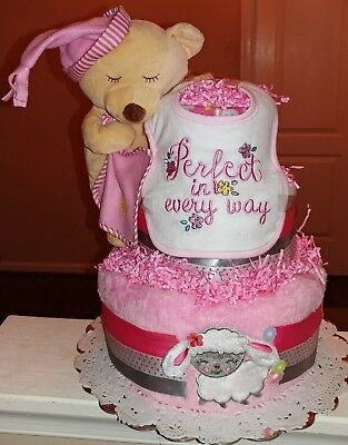 Nap Time Diaper Cake-  This is an adorable three tier diaper cake.