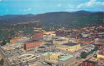 FMRA NORTH CAROLINA ASHEVILLE AIR VIEW OF DOWNTOWN POSTCARD b898