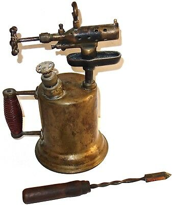 EARLY Antique SOLID BRASS BLOWTORCH w/WOODEN HANDLE and BONUS SOLDERING IRON!