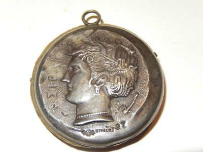Antique Victorian Whiting Sterling Chatelaine Sewing Pin Safe Figural Caesar