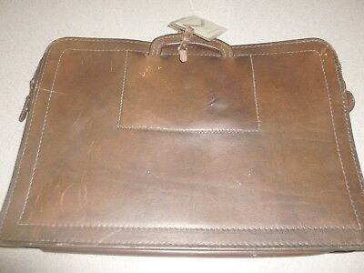 Vintage Thick Genuine Brown SADDLE Leather Briefcase Case Bag 11.5x16.5""