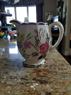 Blue Ridge SUWANEE PATTERN Hand Painted GRACE PITCHER  Made in  USA -Tennessee