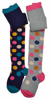 2 pairs of Girls Spotty Tights - Cotton - Variety of sizes