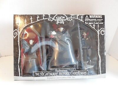 Nightmare Before Christmas Vampires & Coffin PVC Set. New In Box.