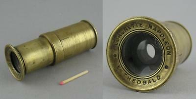 Antique 19C Single Draw Pocket Spyglass Telescope E Theobald Lorgnette Napoleon