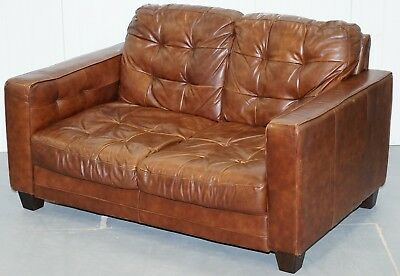Small 146.5Cm Wide Aged Brown Leather Chesterfield Two Seat Sofa Vintage Finish