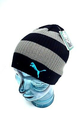 PUMA Youth s Beanie  Winter Sport Striped Knit Hat  Black Gray  One Size d0e4829ff543