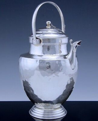 Very Fine Italian 800 Solid Silver Mid Century Hand Hammered Tea Or Coffee Pot
