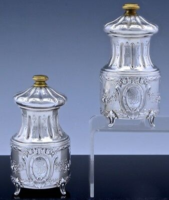 Gorgeous Pair Antique French 950 Sterling Silver Repousse Pepper Grinder Mills